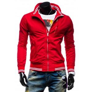 Športové pánske prechodné bundy červenej farby na zips