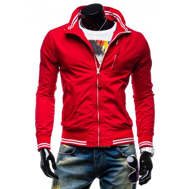 Športové pánske prechodné bundy červenej farby na zips - fashionday.eu 43d6f04479b