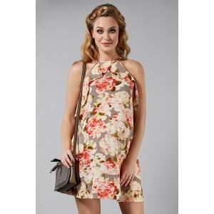 VEĽKOSŤ S Béžové tehotenské šaty s kvetmi a viazaním okolo krku