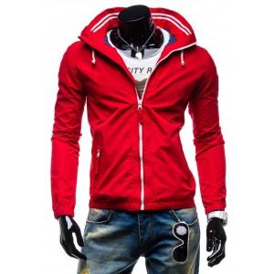 Kvalitné pánske bundy červenej farby so zipsom šnúrkami a kapucňou