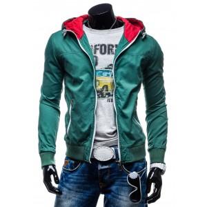 Prechodné pánske bundy zelenej farby s kapucňou