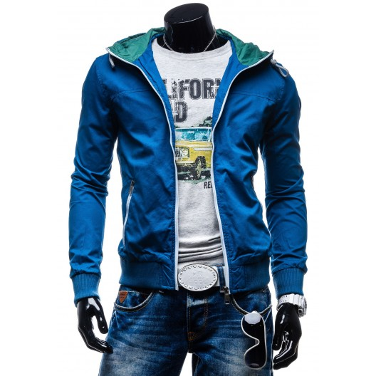 Pánske prechodne bundy modrej farby s kapucňou