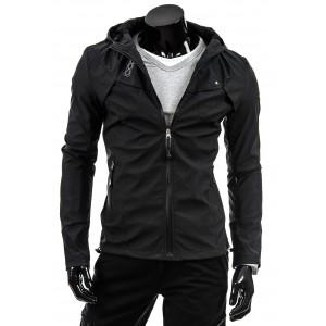 Štýlové prechodné bundy pre mužov čiernej farby s kapucňou