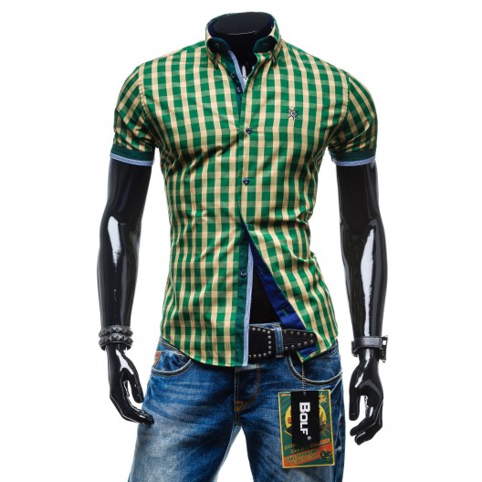 Pánska kockovaná košeľa zelenej farby s krátkym rukávom
