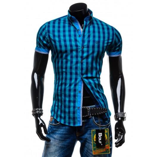 Pánska károvaná košeľa s krátkym rukávom modrej farby