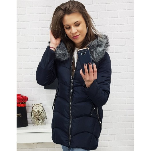 Tmavo modrá dámska zimná bunda s kožušinou