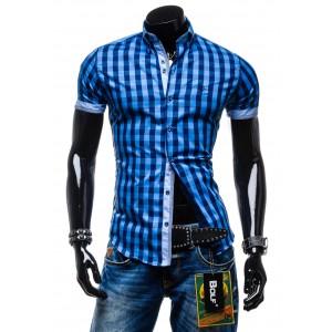 Moderné pánske košele s krátkym rukávom modrej farby