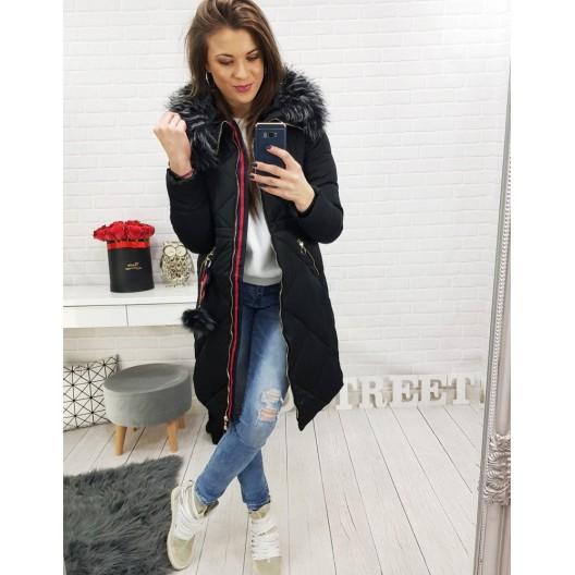 Dlhá dámska zimná bunda čiernej farby s kožušinou