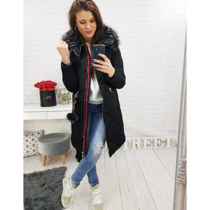 fadb58174578 Dlhá dámska zimná bunda čiernej farby s kožušinou