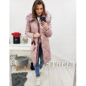 Ružová dámska zimná bunda s prešívaním a kapucňou