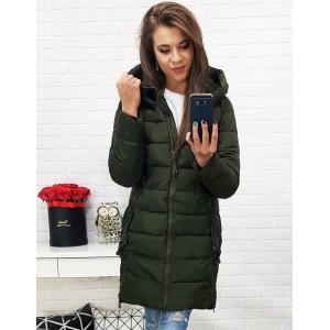 Tmavo zelená dámska bunda na zimu s predĺženým strihom