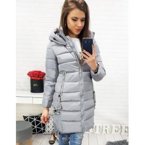 Zateplená dámska bunda sivej farby s ozdobnými šnúrkami
