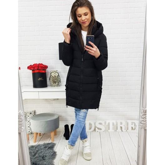 Čierna predĺžená dámska bunda s kapucňou na zimné obdobie