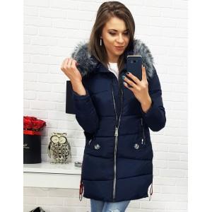 Štýlová zimná bunda pre dámy tmavo modrej farby