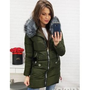 Zelená bunda na zimu s odnímateľnou kožušinou na kapucni