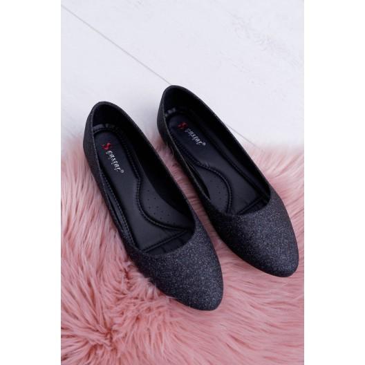 Čierne dámske trblietavé baleríny