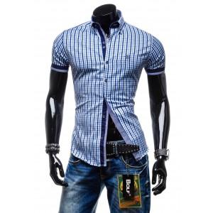 Kvalitné pánske košele s krátkym rukávom svetlo-modrej farby