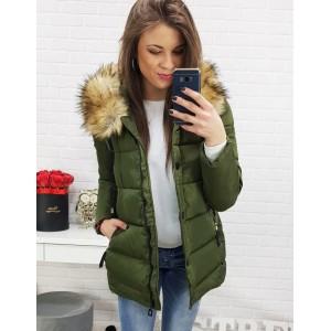 Elegantná dámska zimná bunda tmavo zelenej farby
