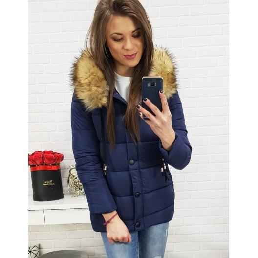 Tmavo modrá dámska zimná bunda s hustou kožušinou