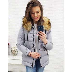 Krátka dámska bunda na zimu v sivej farbe