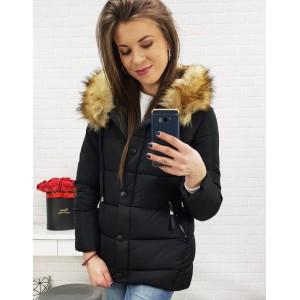 Elegantná krátka bunda na zimu v čiernej farbe