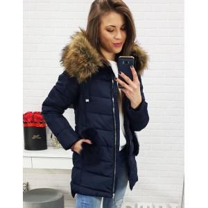 Mierne predĺžená zimná bunda pre dámy v modrej farbe
