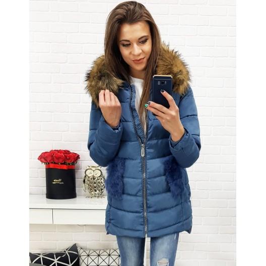 Modrá zimná bunda s prešívaním a kapucňou pre dámy