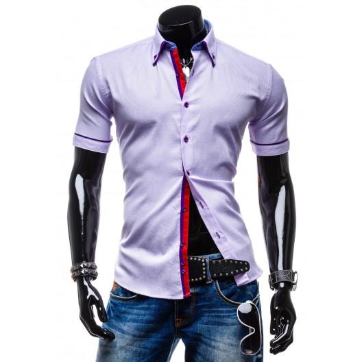 Moderné pánske košele s krátkym rukávom fialovej farby