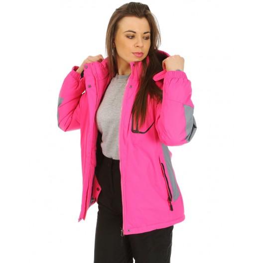 Dámska lyžiarská bunda v ružovej farbe s kapucňou