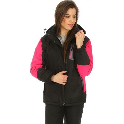 Dámska čierna lyžiarská bunda s odnímateľnou kapucňou