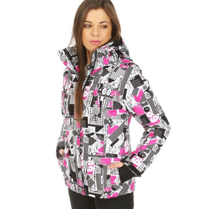 6d77b5cf7dba Dámska lyžiarská vetrovka s kapucňou a farebným motívom