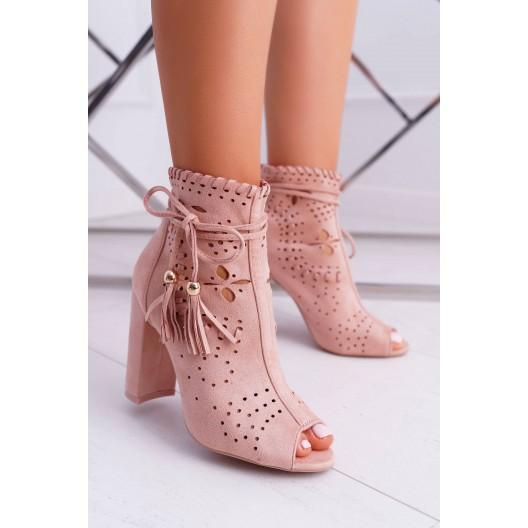 Dámske štýlové členkové topánky na hrubom podpätku v ružovej farbe