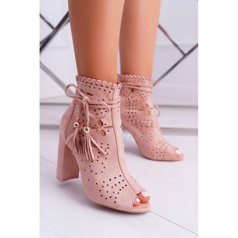 Dámske štýlové členkové topánky na hrubom podpätku v ružovej farbe 81d570273fd