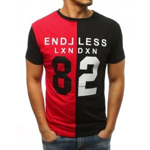 Tričko s potlačou pre mužov v čierno červenej farbe