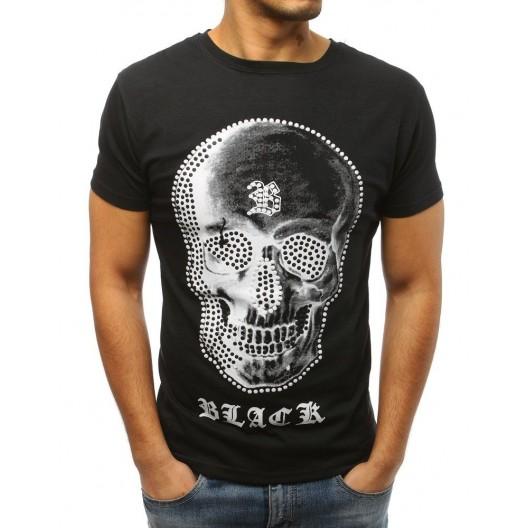 Pánske čierne tričko s potlačou lebky