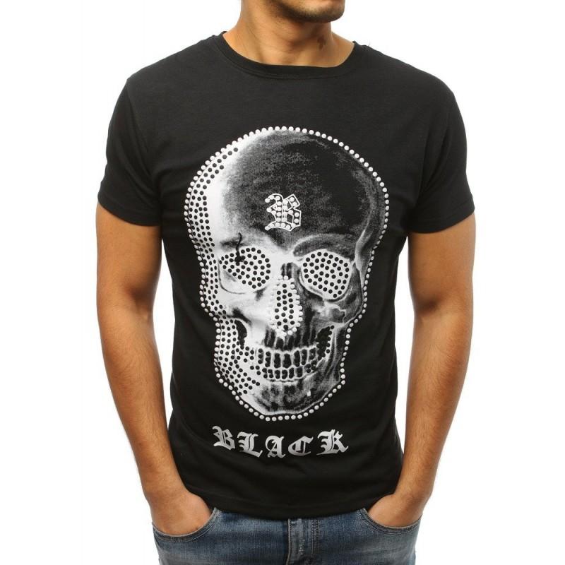 b9def5819 Pánske čierne tričko s potlačou lebky