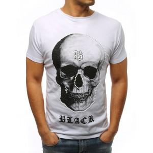 Pánske tričko s potlačou lebky v bielej farbe