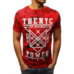 Štýlové panské tričko v červenej farbe s potlačou