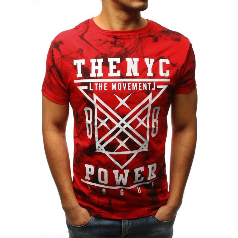 438359bcaf38 Štýlové panské tričko v červenej farbe s potlačou