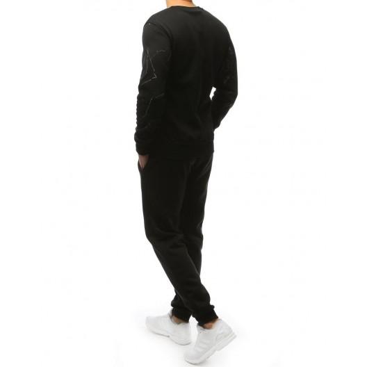Čierna pánska tepláková súprava bez kapucne