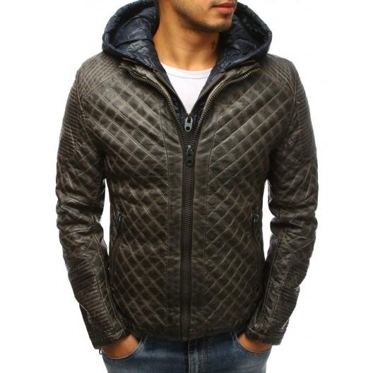 Pánska zimná kožená bunda v hnedej farbe s kapucňou