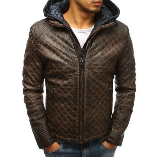 Zateplená pánska kožená bunda v hnedej farbe s kapucňou