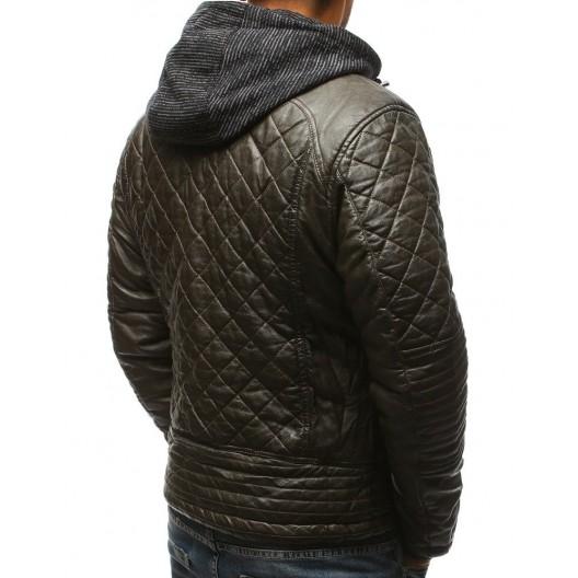 Pánska prešívaná kožená bunda na zimu v tmavozelenej farbe s kapucňou