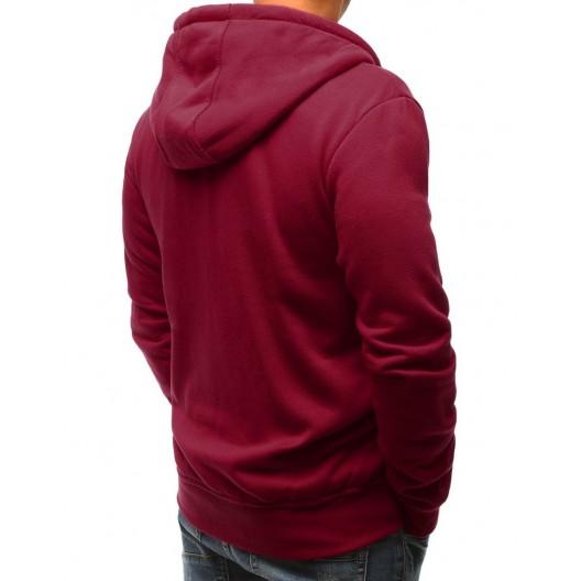 Športová pánska mikina bordovej farby s vonkajšími vreckami