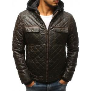 Pánska kožená zateplená bunda v hnedej farbe s vreckami na hrudi