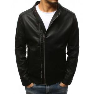Klasická pánska čierna kožená bunda bez kapucne