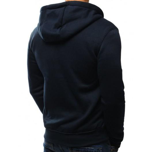 Pánska mikina tmavomodrej farby s kapucňou a zipsom