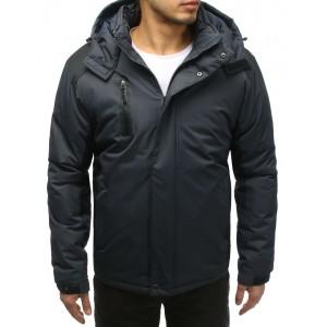 Pánska lyžiarská bunda v sivej farbe s kapucňou