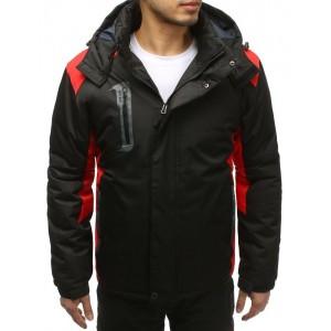 Čierna pánska lyžiarská bunda s červenými aplikáciami a kapucňou