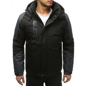 Zateplená lyžiarská bunda pre pánov v čiernej farbe s vreckami